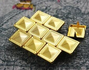 50Pcs 12.5mm Gold Dotted Border Pyramid Studs Metal Studs (JDP12)