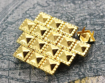300Pcs 8.5mm Gold Dotted Border Pyramid Studs Metal Studs (JDP08)