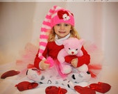 Stripped Valentines day pixie hat photo prop Pattern( Newborn to adult sizes Crochet )