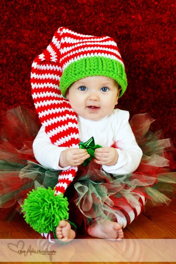 Santa's little helper elf christmas hat( Newborn to adult sizes Crochet Pattern)