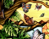 SPRING SALE  nature art print with butterflies