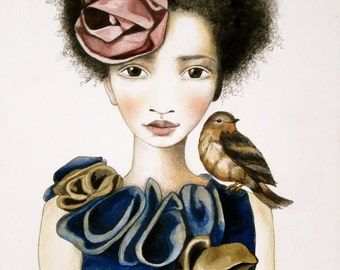 large art print  the rose and the bird