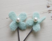 Flower Bobby Pins in Pale Aqua Felted Wool with Pearl Center