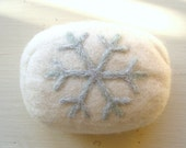 White Felted Soap with Sparkly Snowflake Design