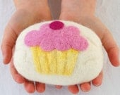 White Felted Soap with Pink Cupcake Design, Unscented