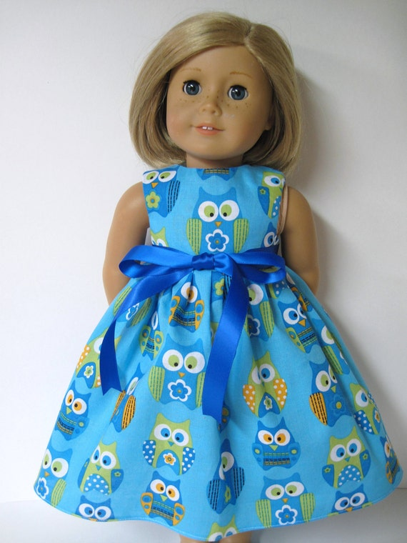Blue Owls Sleeveless Dress for Your American Girl Doll