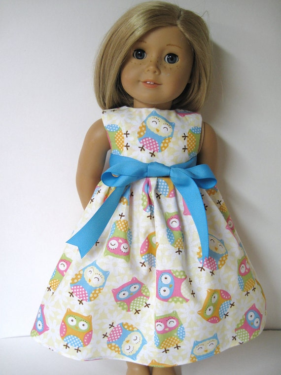 Sweet Yellow Owls Sleeveless Dress for Your American Girl Doll