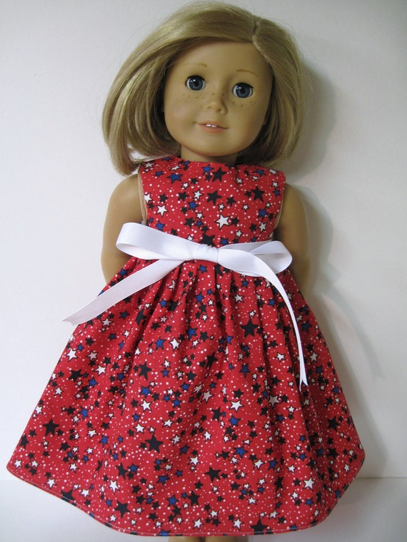 Patriotic Red White and Blue Sleeveless Dress for Your American Girl Doll