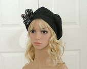 Beret Hat Embellished with Necktie Fabric Detachable Brooch Flower