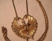 Vintage Sarah Coventry Necklace with Pendant in Art Nouveau style and Butterfly shape