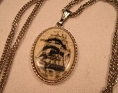 Vintage Sarah Coventry Necklace with Pendant Sailship / Nautical design and extentsion chain