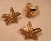 Sarah Coventry Starfish clip on Earring and Ring set in gold tones