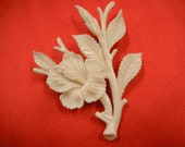 Early Vintage Ming's Ivory Hibiscus Brooch Pre-Ban African Elephant Ivory Reddish Brown Signature