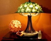 Custom Order for Gretchen: Green eight legged lamp with finished wood base