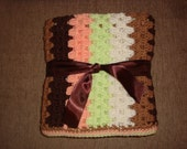 "Granny Stripe Baby Blanket in Browns, Lime, Orange, Cream 33"" x 35"""