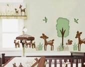 Willow Deer Forest Friends Fabric Wall Decal Sticker - not vinyl - ToodlesDecalStudio