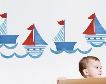 Sailboats Wall Decal - Reusable Fabric Sailboat Decal - Boat Stickers - Boys Nautical theme Bedroom - Nursery boat Art - Bathroom Decal