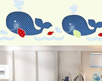 Whales Name Personalized Nursery Kids Reusable Fabric Wall Decal Sticker