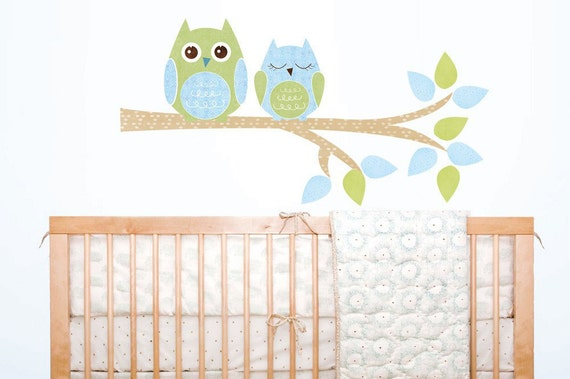 2 Owls tree branch kids FABRIC wall decal sticker - not vinyl - blue