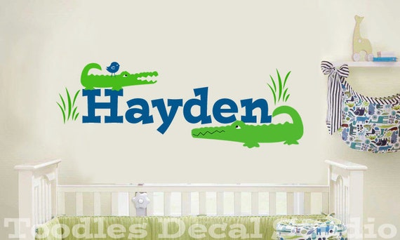 Alligator Gator Name Personalized Kids Vinyl Wall Decal Sticker