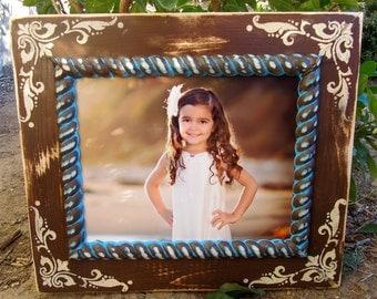 8x10 Corner Damask Distressed Handmade Frame-Any Size-Any Color- Custom-