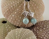 Larimar Bead with silver art nouveau fan Earrings