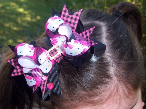Hello Kitty - Hot Pink and Black Hair Bow