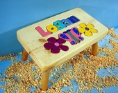 Personalized Wooden Flower Step Stool