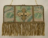 19th c. French handmade cross applique and coil fringe on vintage (1956)  Fortuny fabric  7213