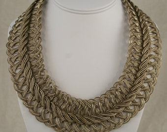 Silver Necklace Of 19th Century French Woven Braid
