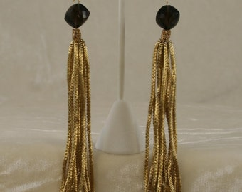 Long Antique French Coil Fringe Earrings 11010