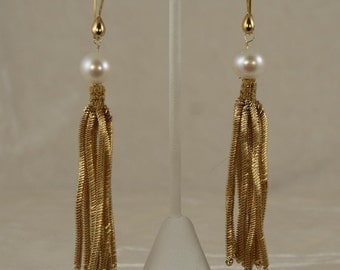 Antique French Coil Fringe and White Pearl Earrings 1113