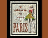 Fashion Art Print - Streets of Paris 8x10 Print