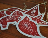 Scandinavian Folk Art Block Print Christmas Ornaments