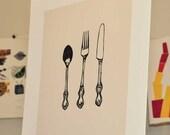 Spoon Fork and Knife Cutlery Silverware Linocut Block Print