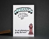 Humorous Parental Thank You Card-Linocut Letterpress Printed