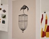Bird on a Cage Linocut Block Print