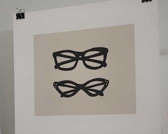 Retro Glasses Linocut Block Print
