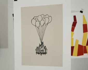 Victorian Balloon House Linocut Block Print