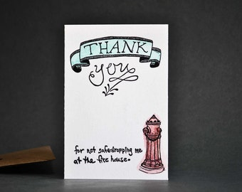 Humorous Parental Thank You Card-Linocut Letterpress Printed