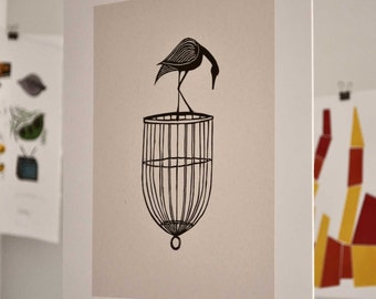 Bird on a Cage Linocut Block Print