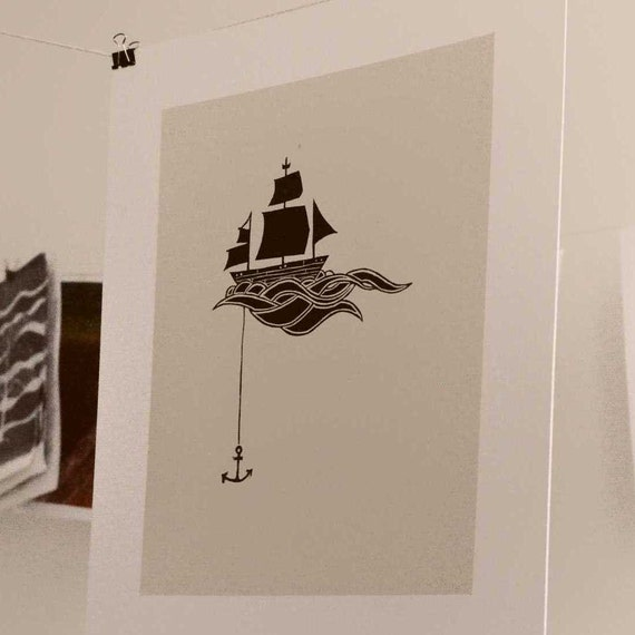 Anchored Ship Linocut Block Print