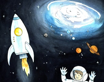 Little Astronaut in Space giclee print