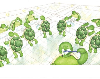 Nine Turtles Get Ready for Bed Print - Medium