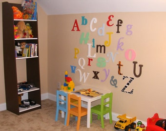 """Set of Painted Alphabet Hanging Letters - in Mixed Fonts and sizes - 12"""" to 6"""" letters-  SALE 15% OFF"""