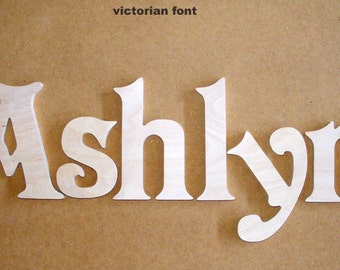 name set 6 letter - 8 inch Unpainted  Wooden  Letters-Wood Letters-Wall Letters-Unfinished-Custom size available- Many Fonts
