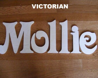 6 letters name set - 10 INCH  Wooden Unpainted Letters-Wood Letters-Wall Letters-Unfinished-Custom size available