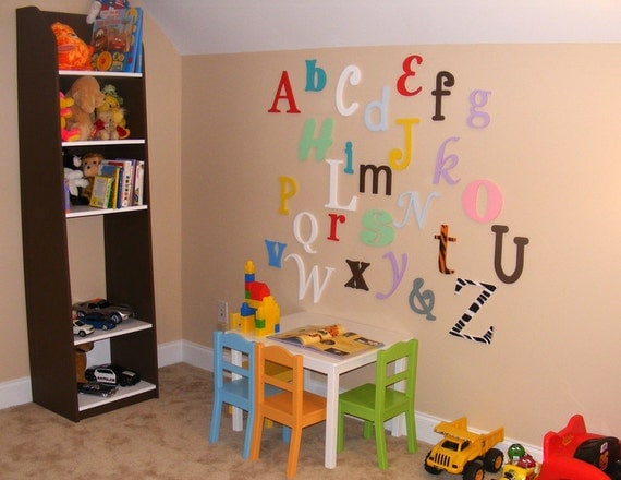 """12"""" to 6"""" Alphabet Set- PAINTED wooden letters-in Mixed Fonts and sizes - DIY- Nursery Letters- ABC Wall- Alphabet Wall"""