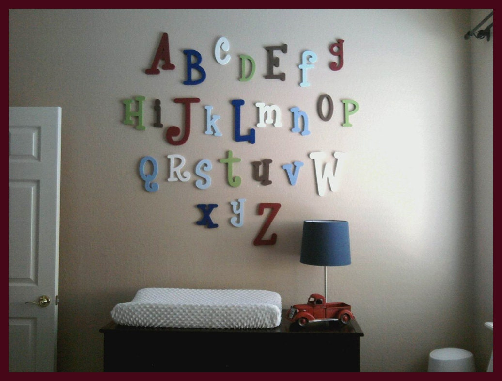Sale wooden wall letters wooden alphabet letters abc Wall letters decor