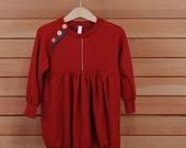 Merino Wool Children's Sweater Dress Carmine Red Size 4 (Flicker Series)